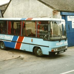 Victory Tours buses operating out of Sixpenny Handley High Street