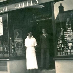 Central Stores in Sixpenny Handley, George Brewer in the apron and Cyril Froud who's family owned the shop back in the 50's