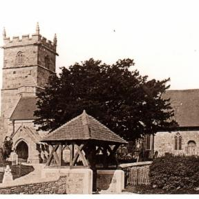 A later picture of the church with the porch in its new position