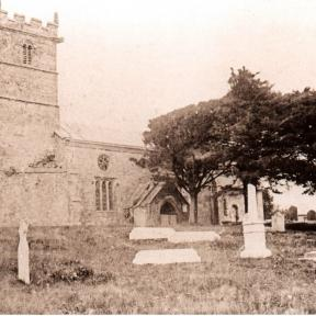 A picture of St. Mary's Church before the changes made in between 1876 and 1878. The church underwent extensive rebuilding. During this time the South Aisle was constructed and the porch (built around 1450) was moved to its present position.