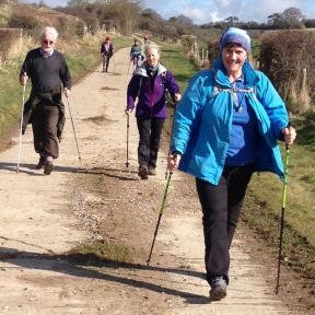 Chalke Valle Nordic Walking out in the sunshine